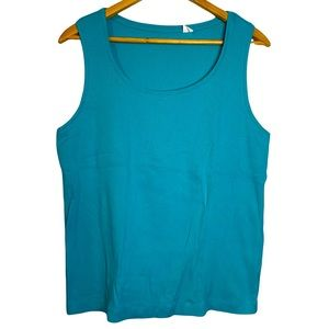Chico's Teal Ribbed Tank Top Scoop Neck XL 3 16
